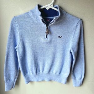 Vineyard Vines Blue Classic Zip Mock Neck Sweater